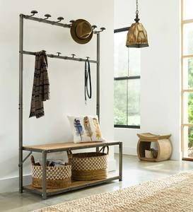 Reclaimed Teak Mudroom Bench & Hanger