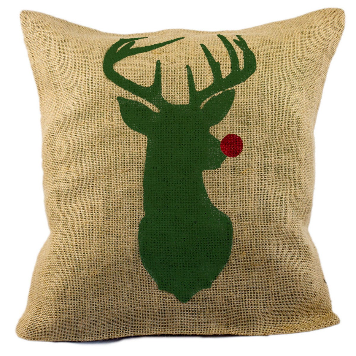 Red Nosed Reindeer Burlap Decorative Pillow Cover - Green
