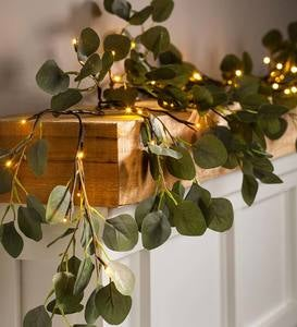 Indoor/Outdoor Battery-Operated Lighted Eucalyptus Garland