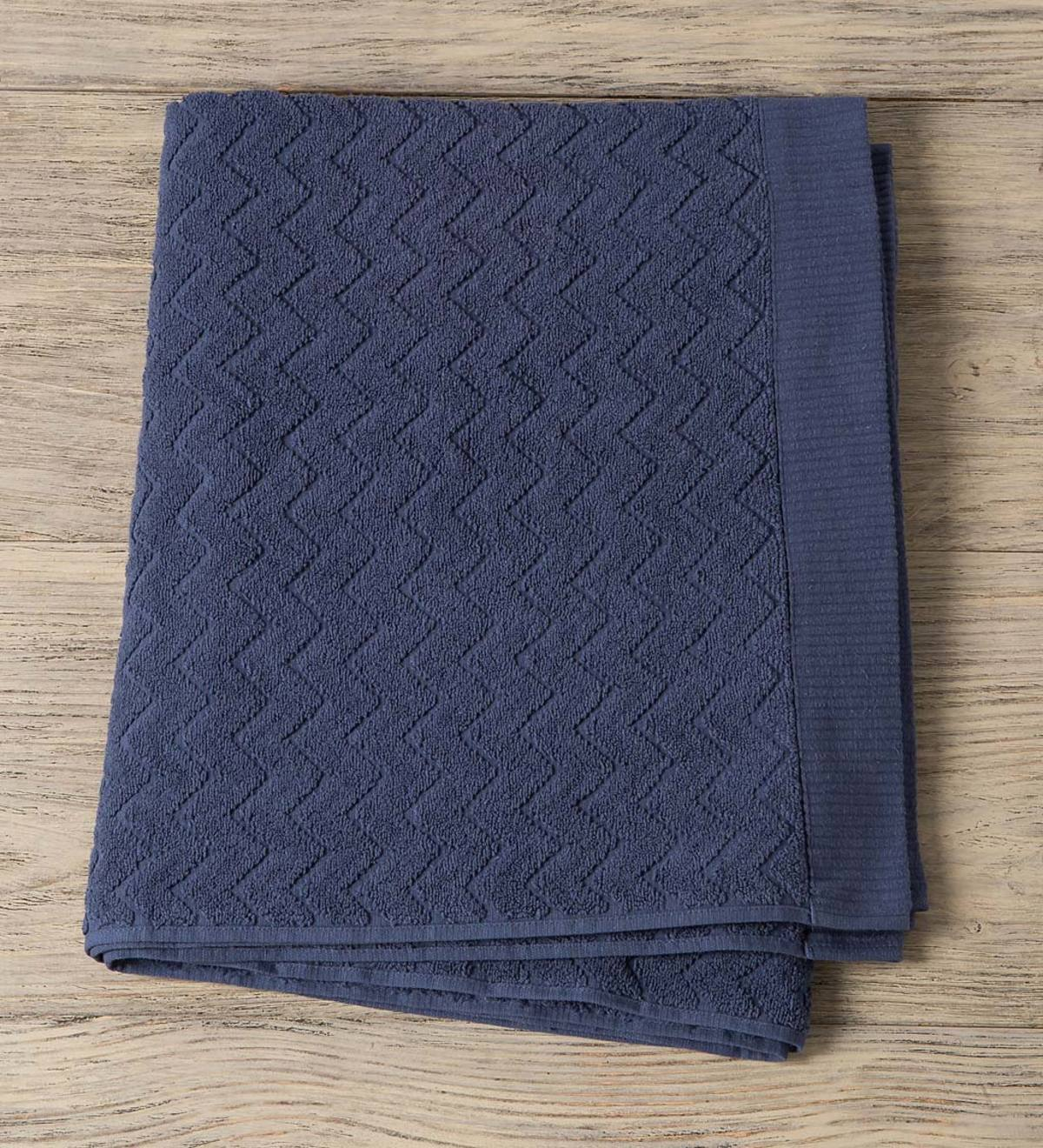 Chevron Cotton Velour Bath Towel - Blue