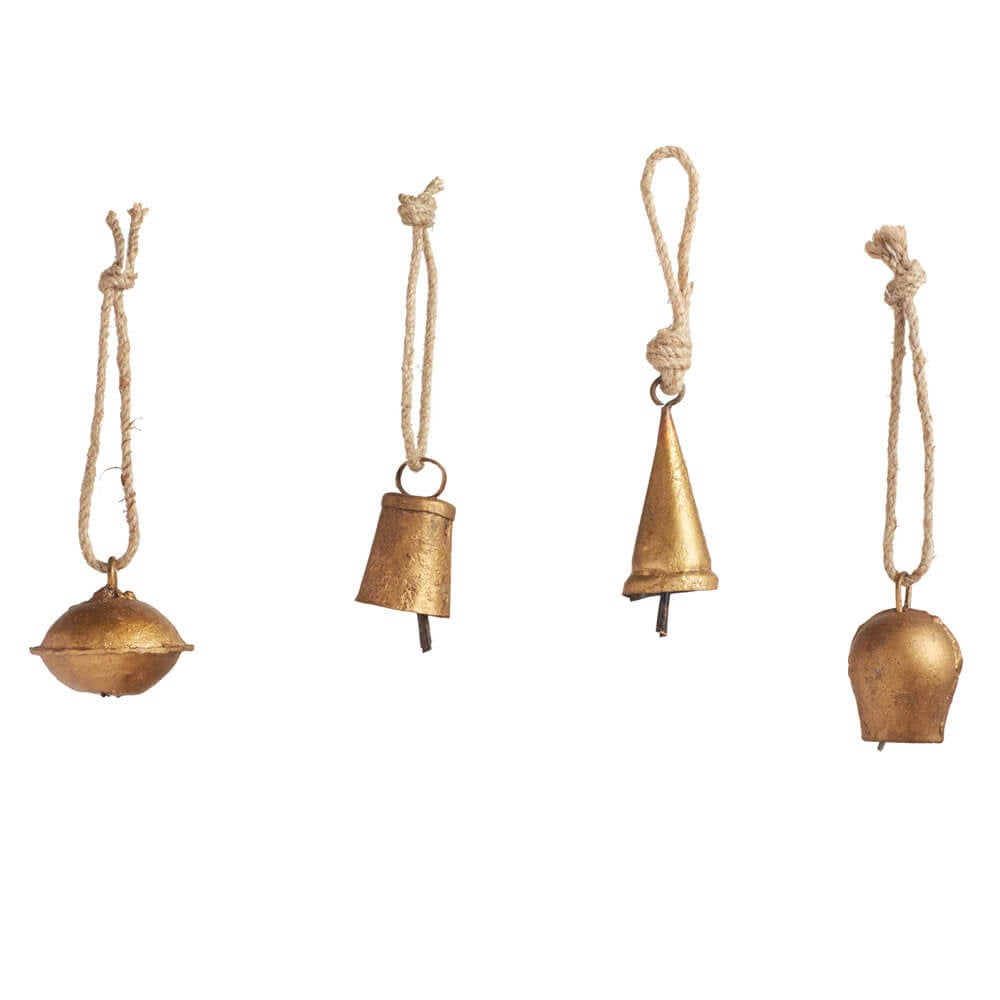 Mini Temple Bell Ornaments, Set of 6 - Gold - Brass