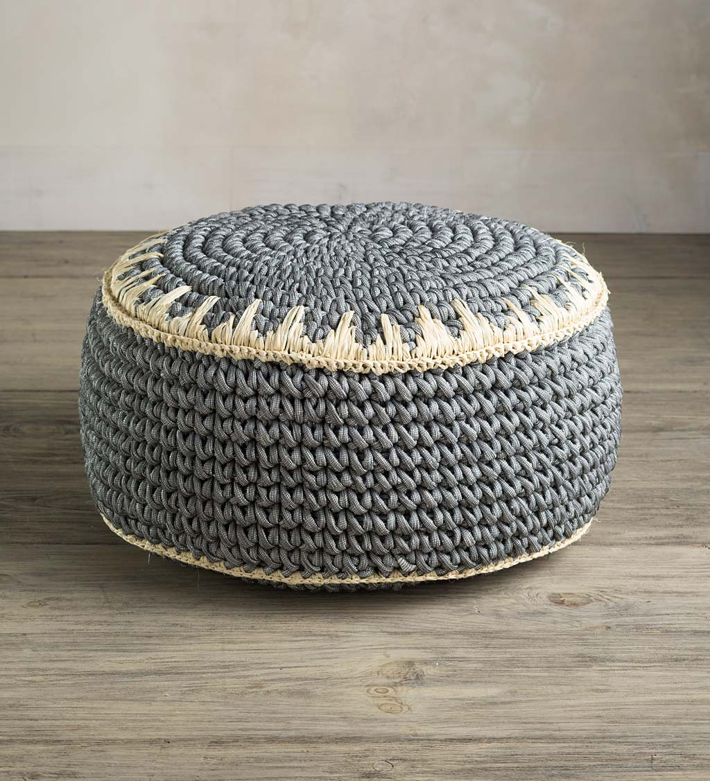 Recycled Gray Cotton Round Woven Pouf