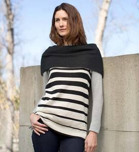 Reversible Folded Shoulder Alpaca Sweater - Large