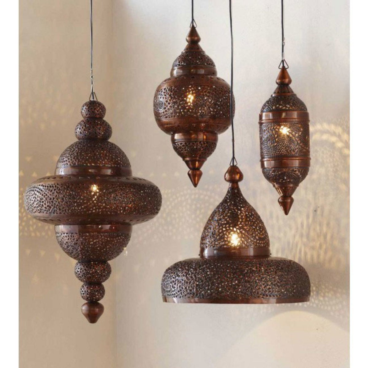 Moroccan Hanging Lamp Collection - Antique Copper