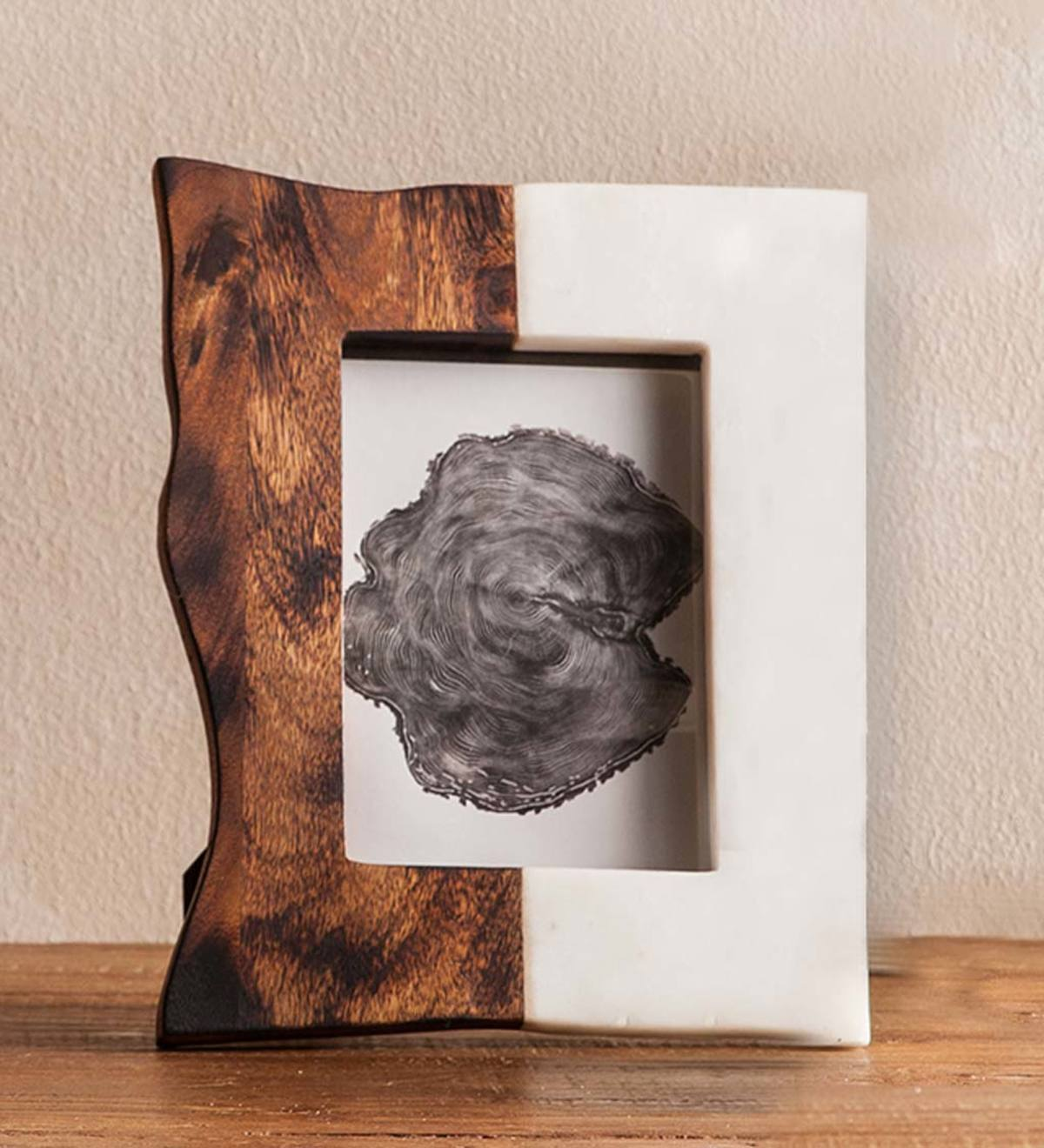 4x6 Wood And Marble Photo Frame - Dark wood Horizontal Split - VER