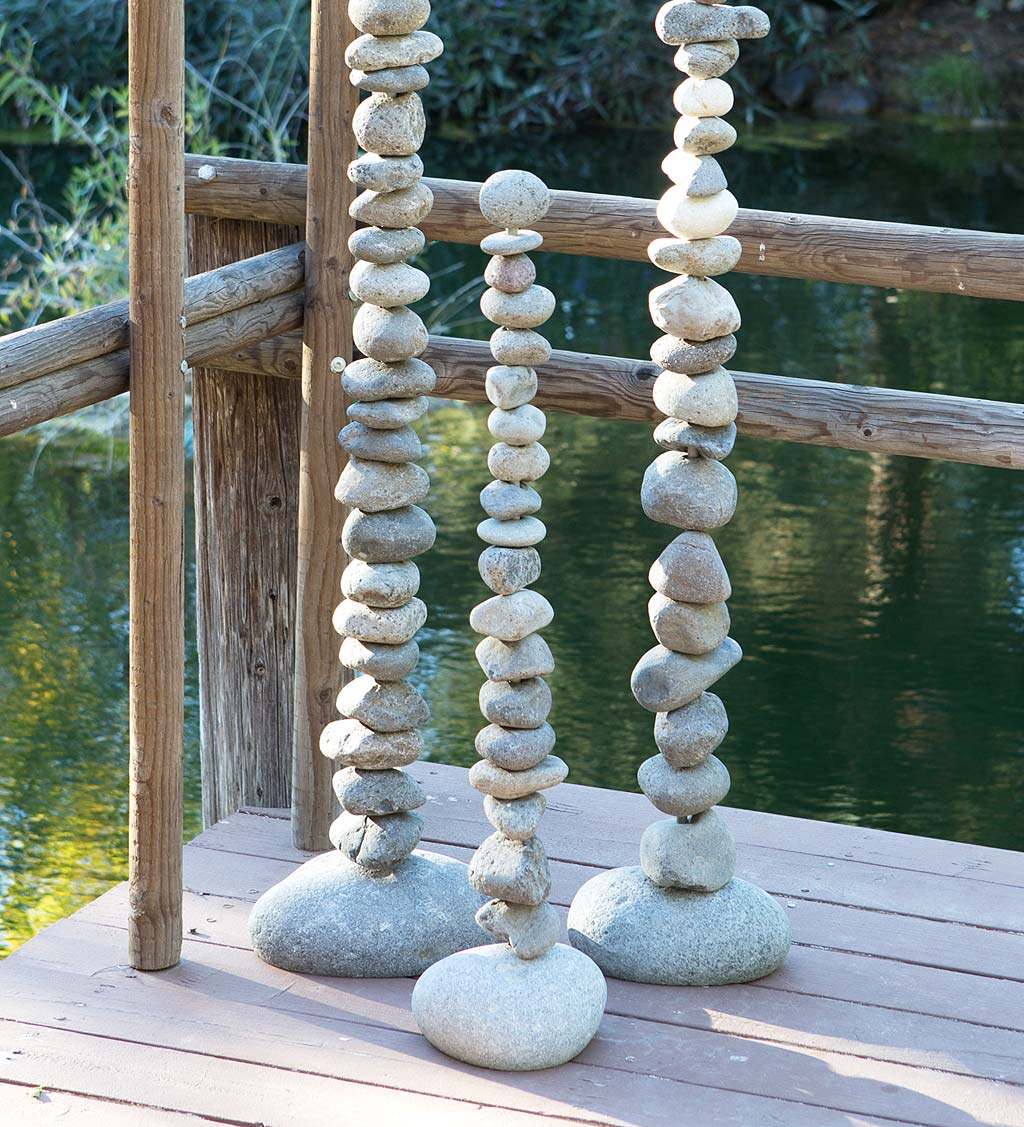 "Giant Stone Cairn 36"" Tower Sculpture"