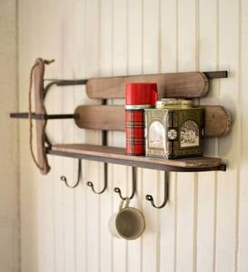 Wood and Iron Sleigh Wall Shelf
