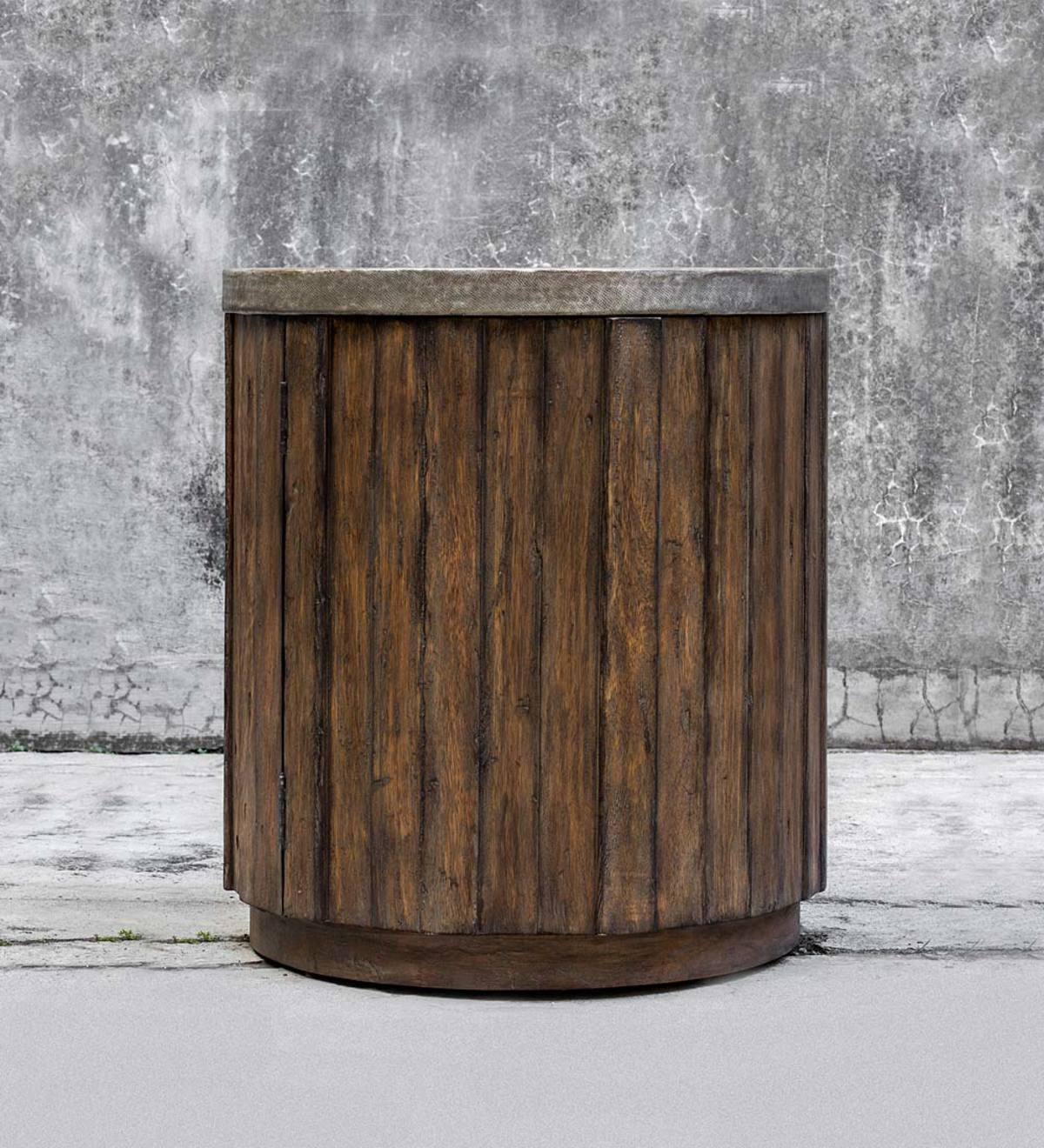 Cylindrical Metal&wood Accent Table