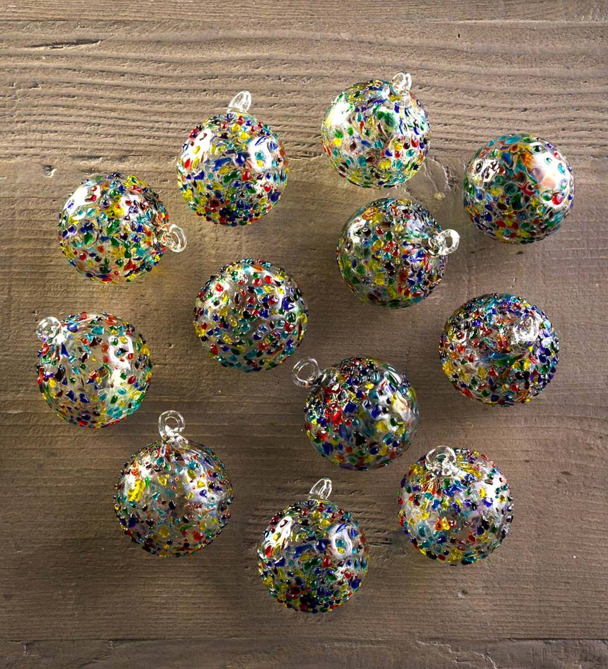 Confetti Recycled Glass Ornaments S/12 Extra Small