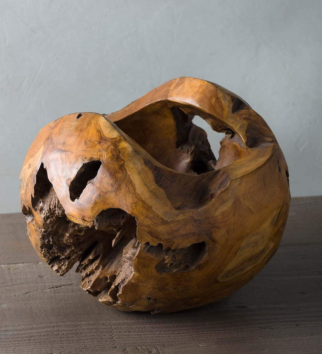 Small Distressed Round Teak Wood Vase