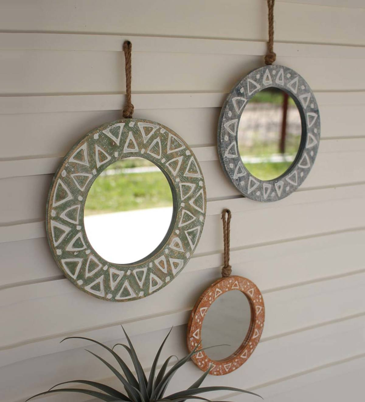 Round Wooden Mirrors With Rope Hangers, Set of 3