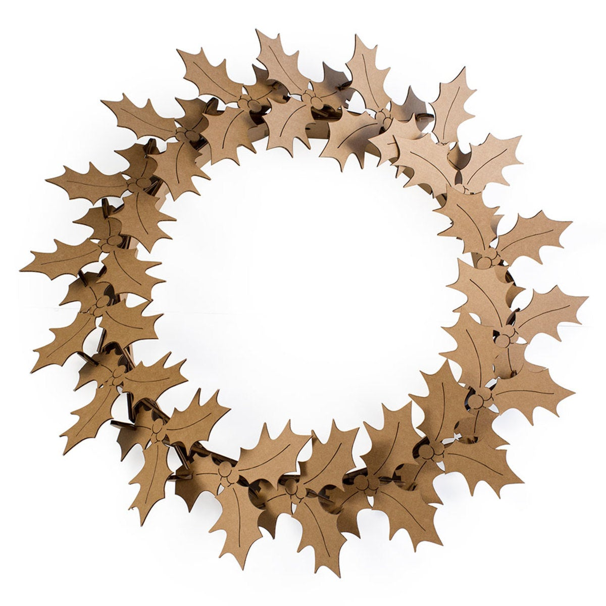 Recycled Cardboard Wreath - Holly - Natural