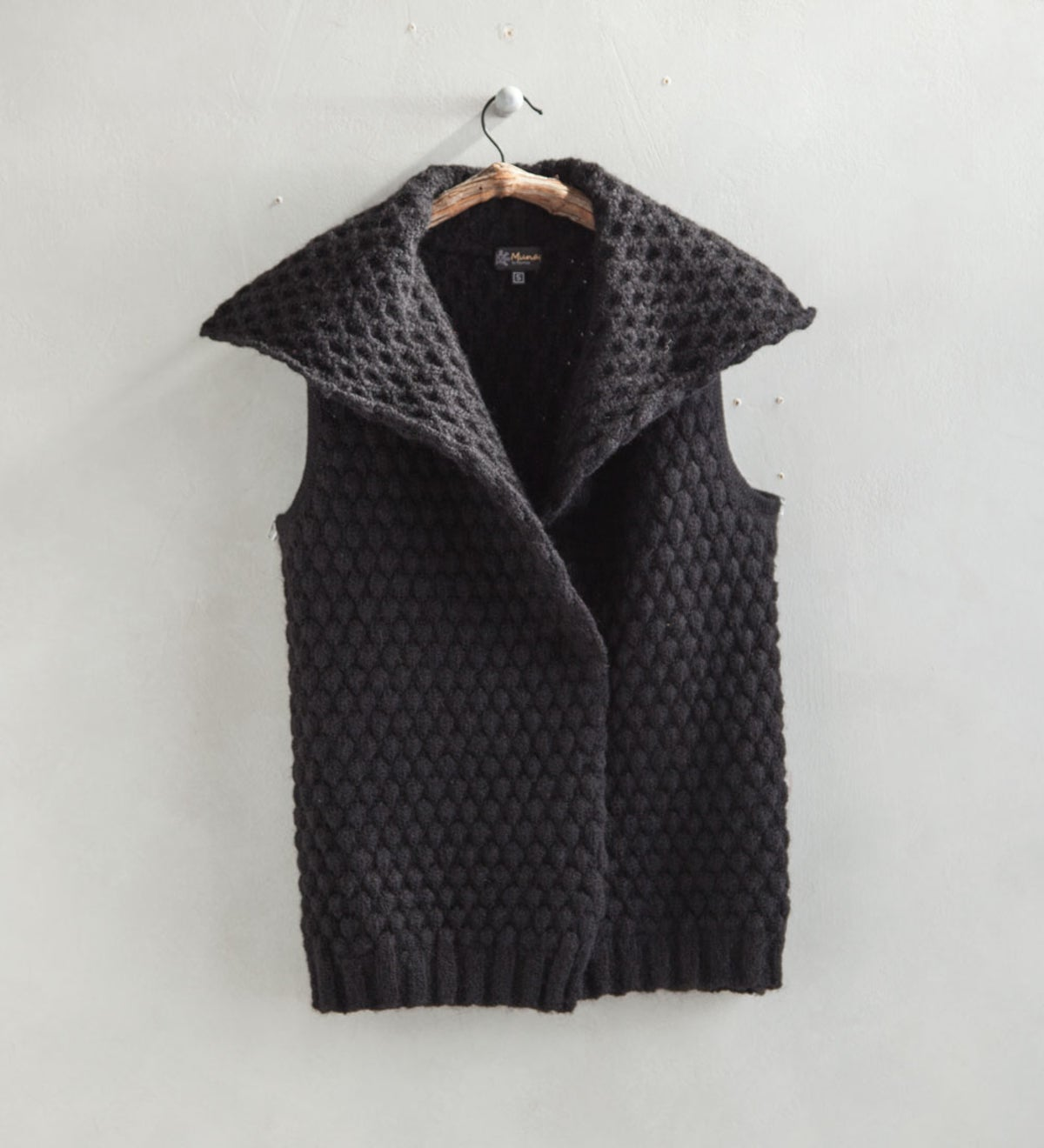 Fold-Over Collar Alpaca Vest - Black - S/M (2-8)