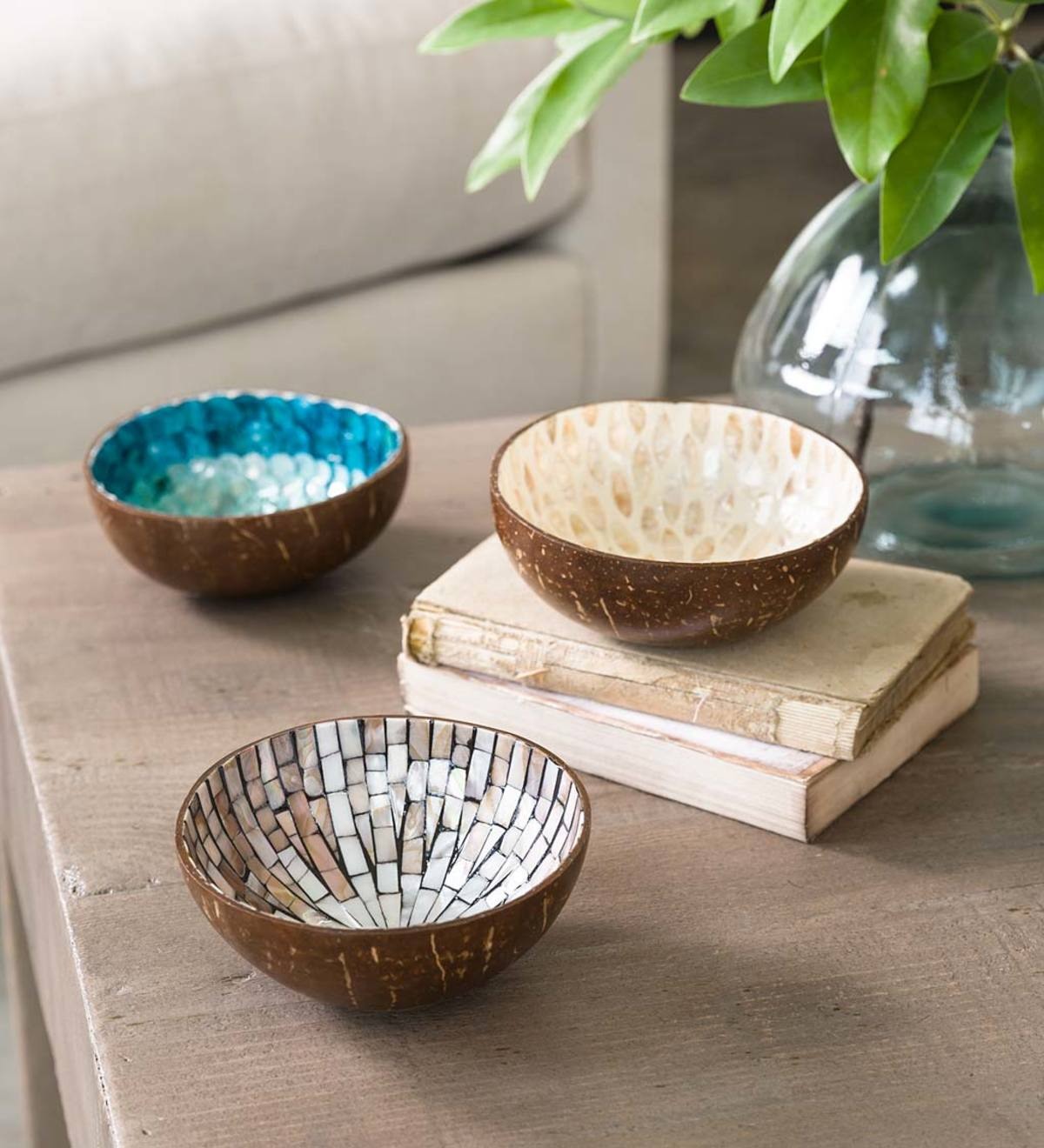Set of 3 Lined Coconut Accent Bowls