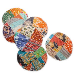 Artisan-Made Kantha Placemats, Set of 6