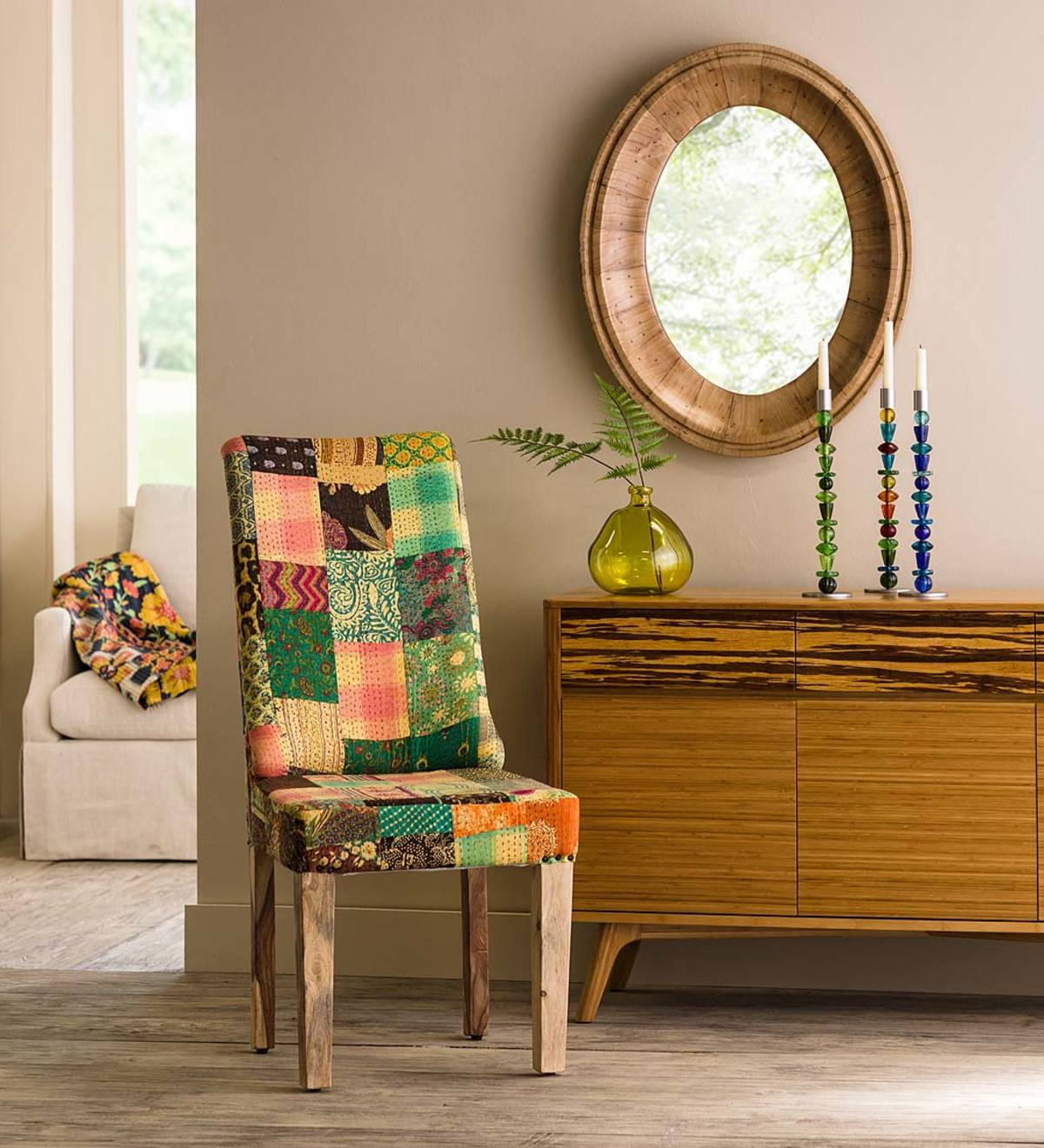 Straight Back Kantha Stitched Dining Chair