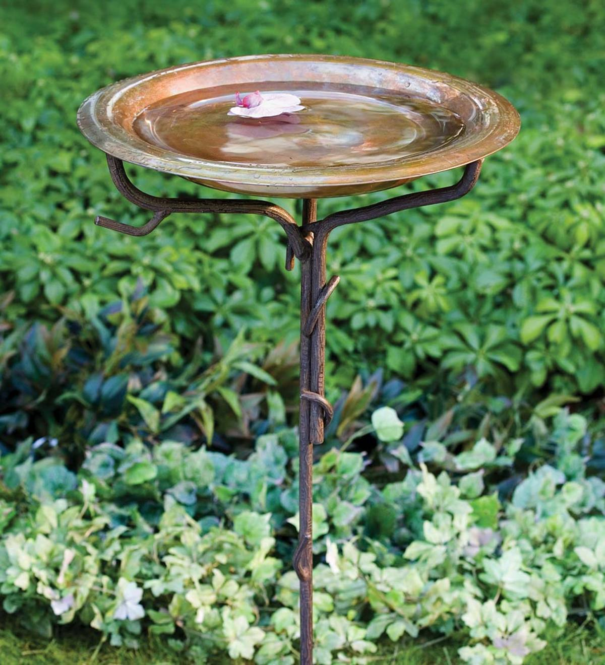 Solid Copper Bird Bath with Twig Metal Stake
