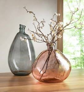 Pink and Gray Recycled Glass Balloon Vases, set of 2