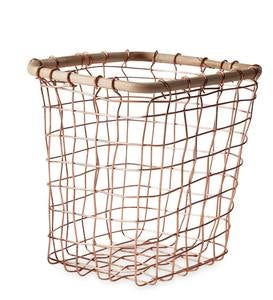 Cane Rimmed Copper Wire Baskets