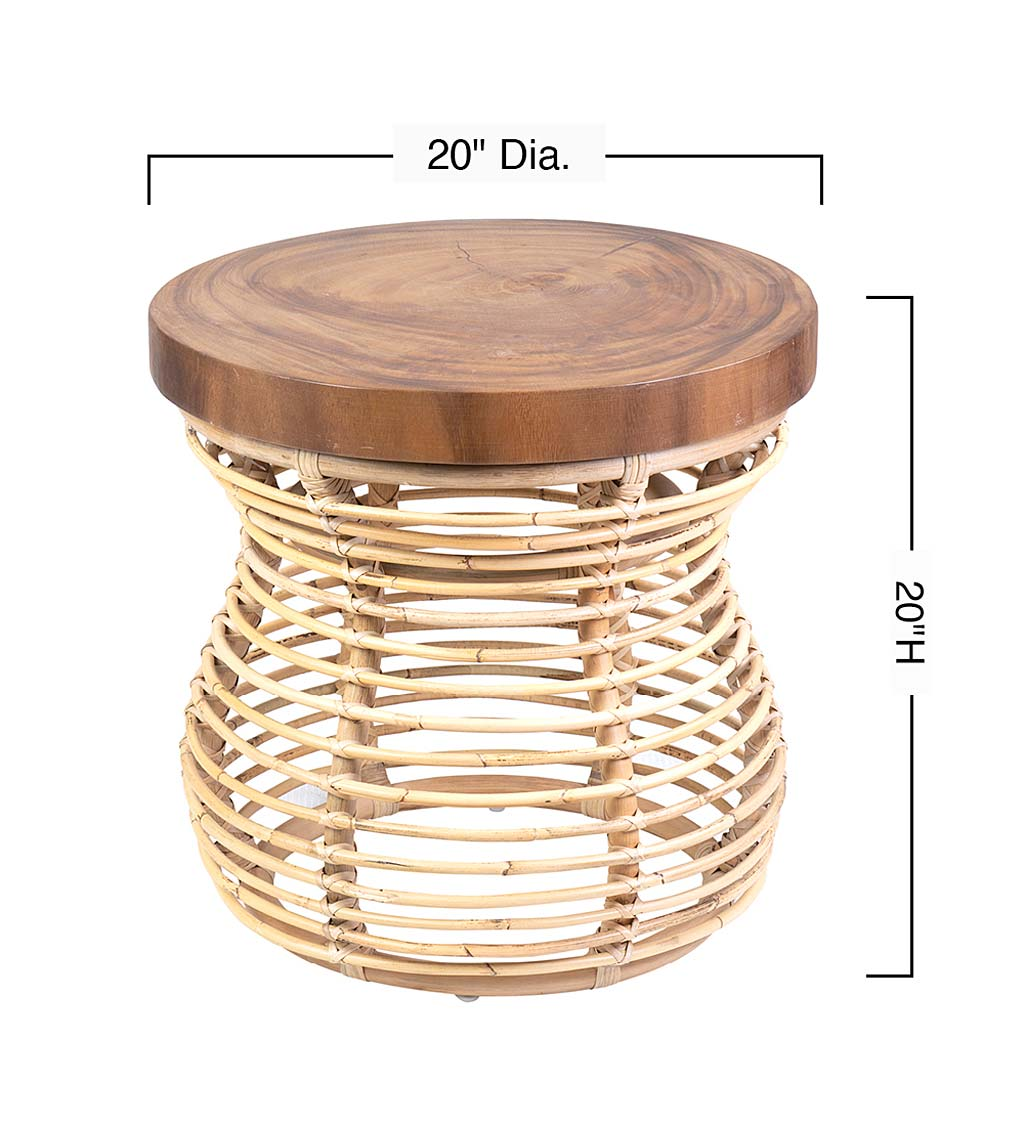 Rattan and Wood Side Table