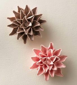 "Ceramic Wall Flowers, 4"" - Pink"