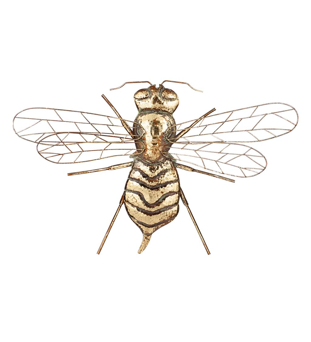 Metal Brass Bee Wall Décor, Set of 3