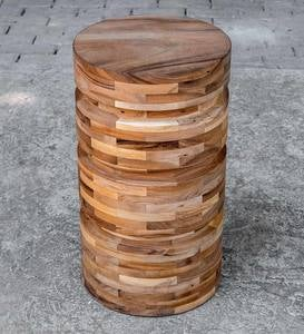 Sliced Wood Round Side Table