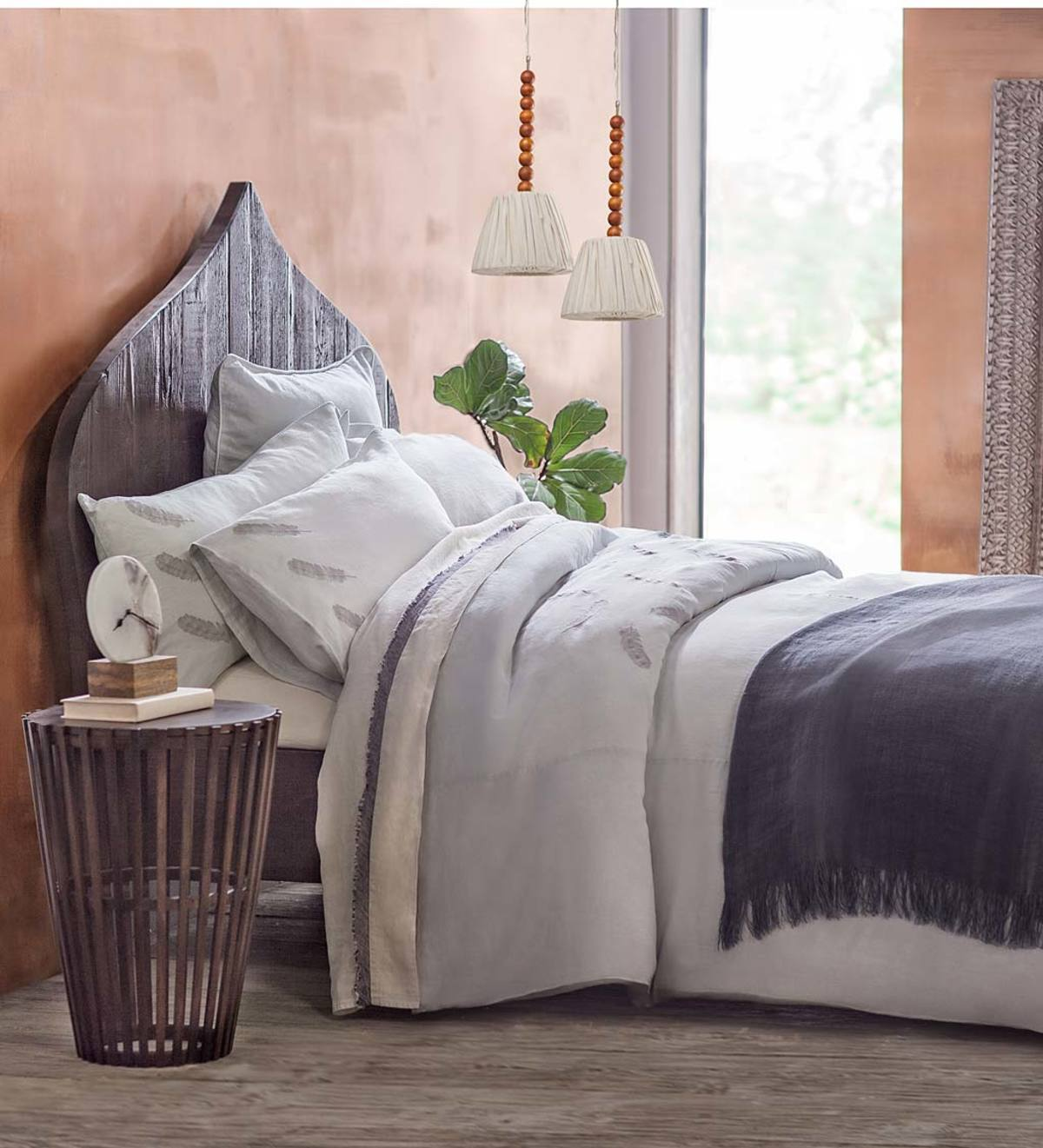 Feather Embroidered Linen Duvet Set and Shams
