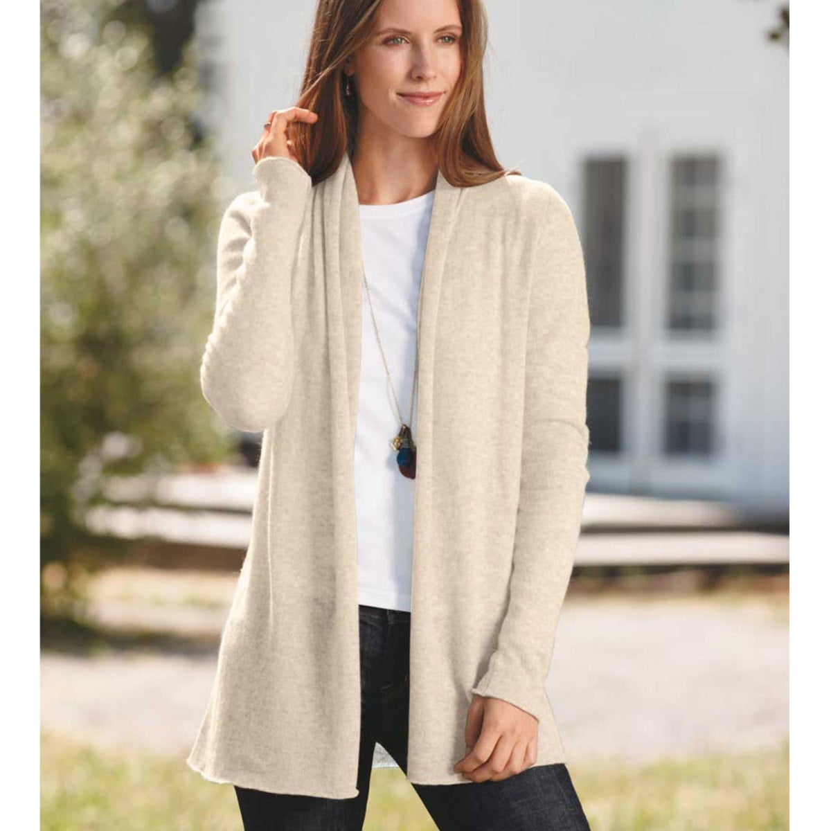 Lightweight Cashmere Duster Cardigan - Cream - L (12-14)