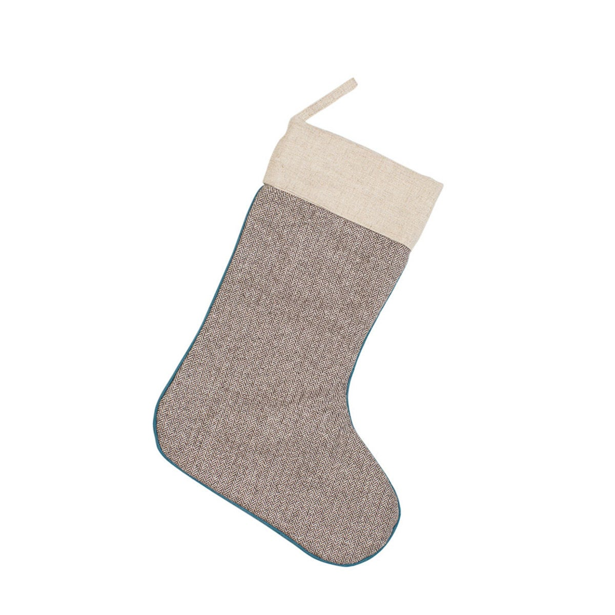 Herringbone Christmas Stocking - Brown