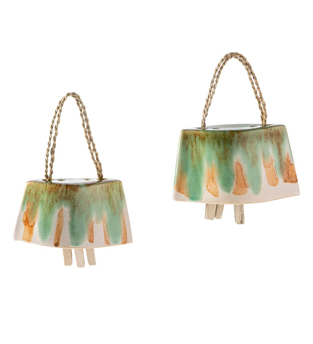 Artisan-made Ceramic Cowbell Chimes, Set of 2