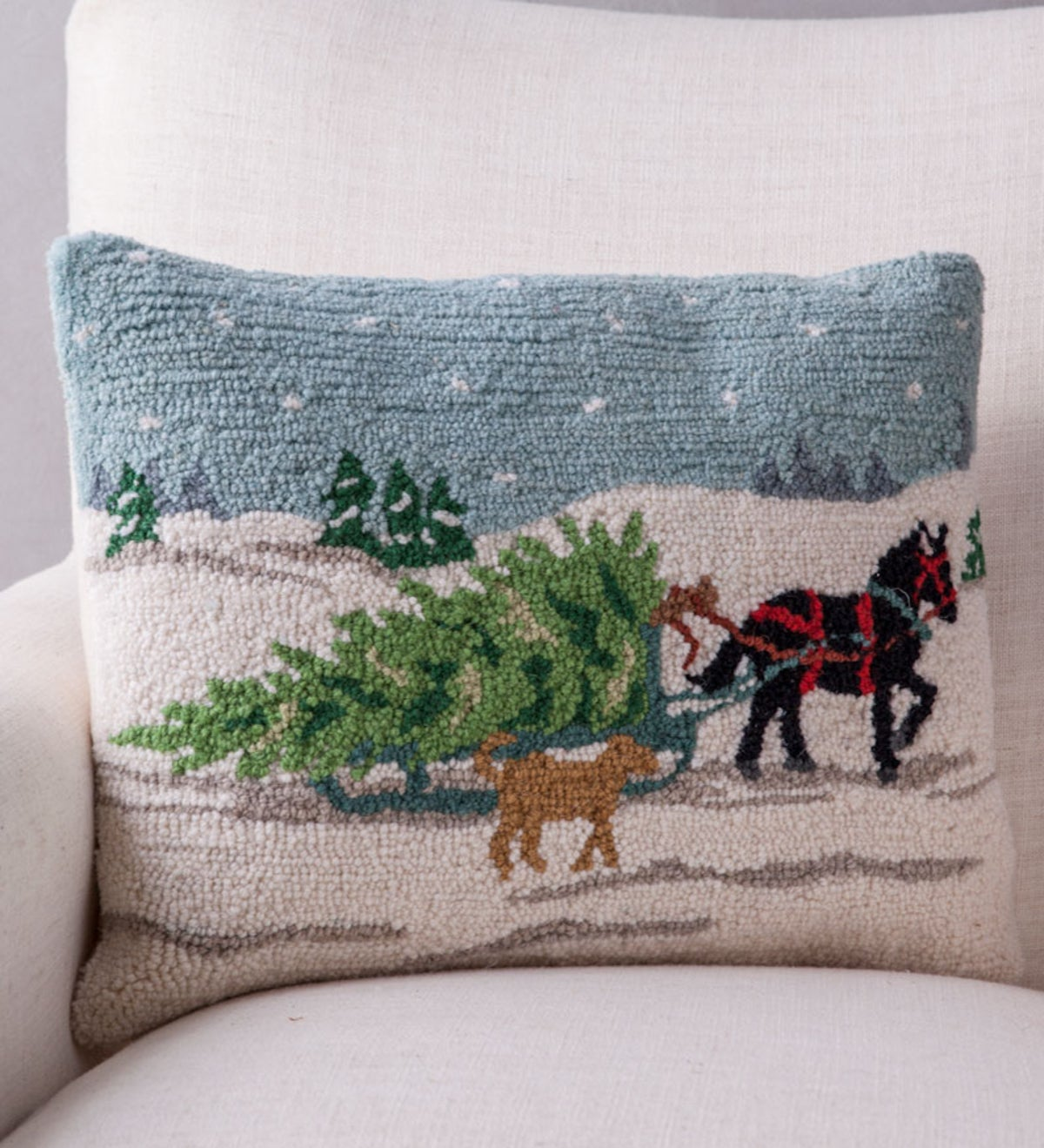 Hand-Hooked Horse Drawn Sleigh Pillow