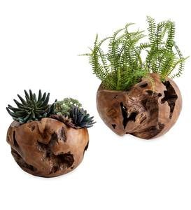 Distressed Round Teak Wood Vases