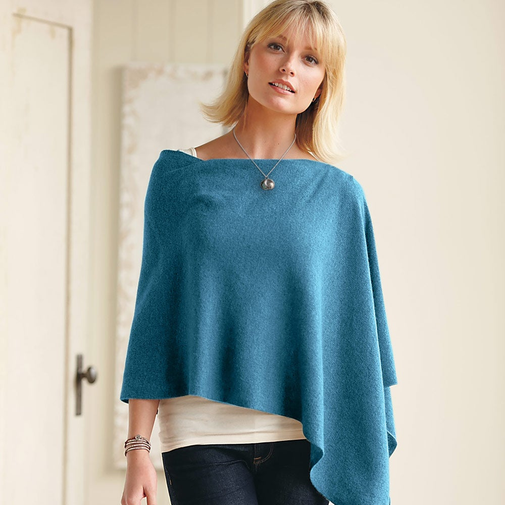 Lightweight Cashmere Boatneck Poncho