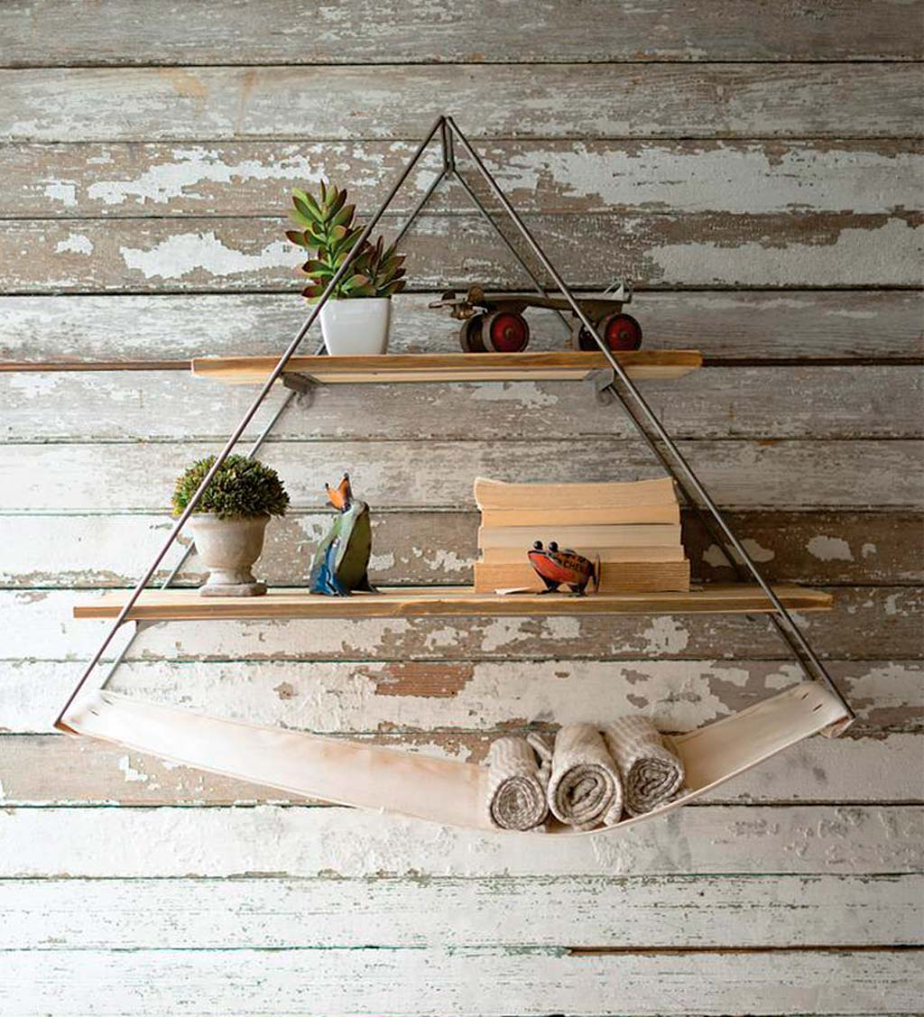 Triangle Metal with Recycled Wood Shelves and Canvas Sling