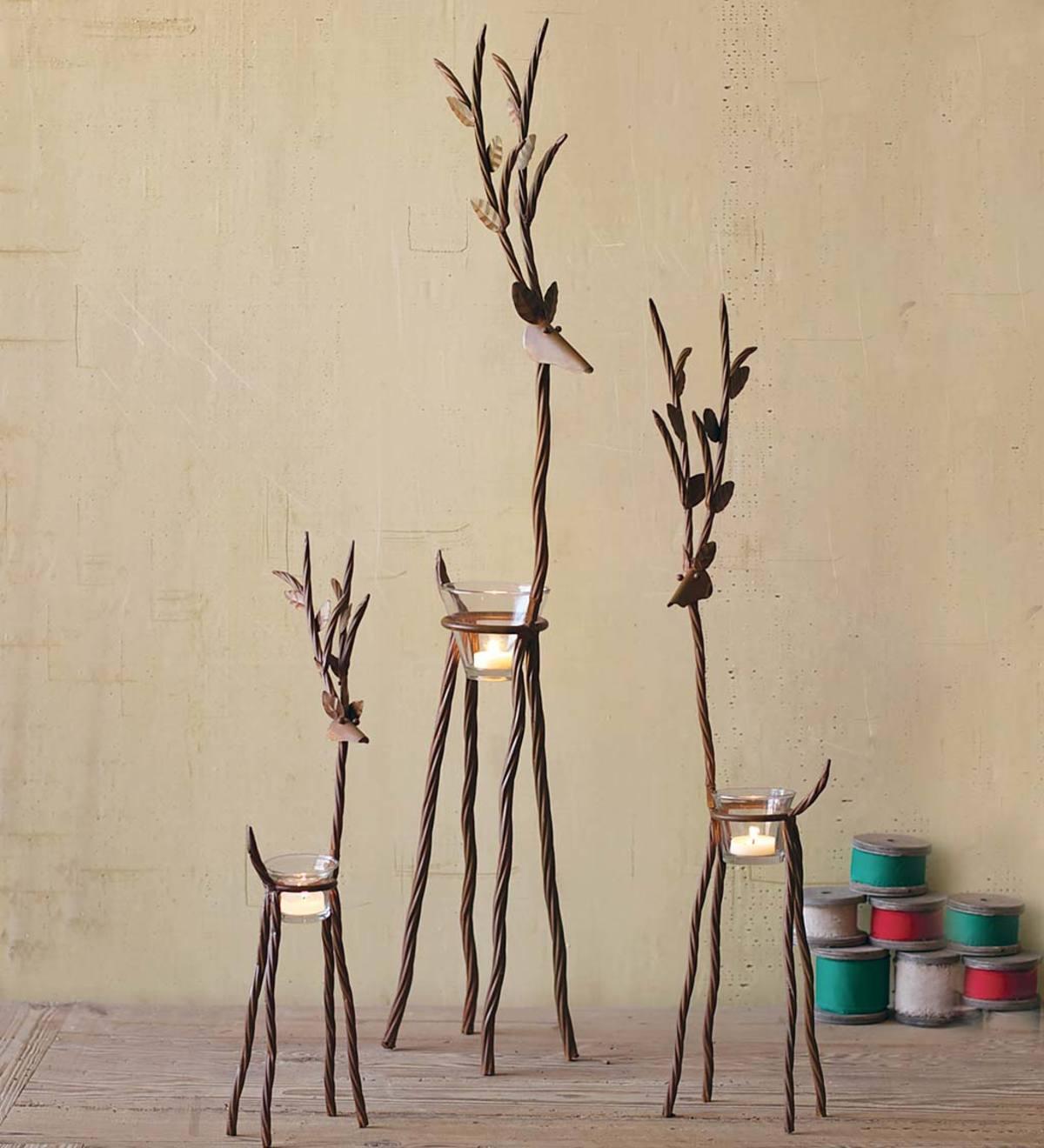 Selenite Crystal Candle Holder SET of 2 HANDMADE 3 Candle Tea Light Stand Lamp
