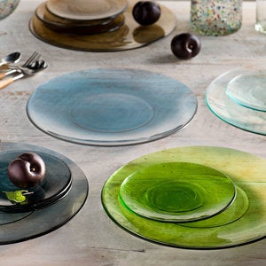 Color Cast Recycled Glass Salad Plates, Set of 6 - Clear