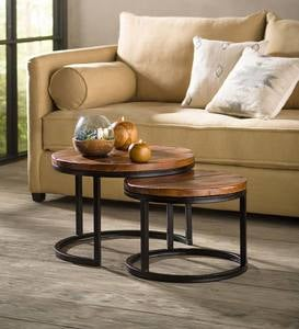 Reclaimed Wood Round Nesting Tables, Set of 2