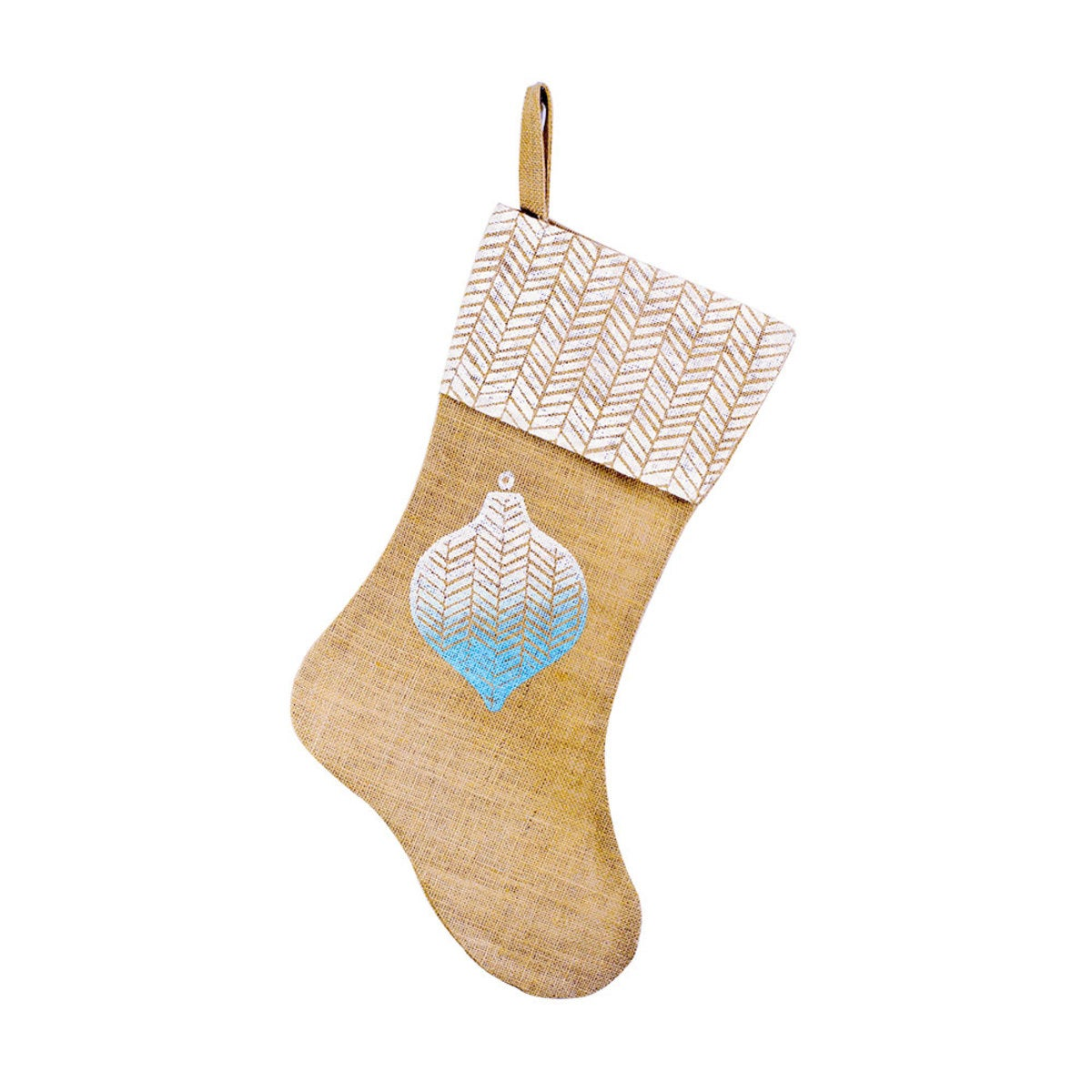 Herringbone Ornament Burlap Stocking - Blue Ombre