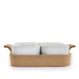 Ensemble Set of 4 Ramekins with Cork Tray