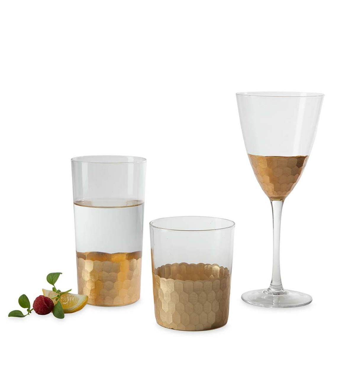 Gold Honeycomb Drinkware