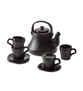 Black Hammered Ceramic Tea Kettle Set