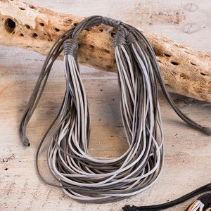 Adjustable Two-Tone Cotton Necklaces - Gray /Charcoal