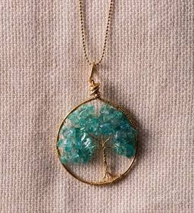 Wired Tree of Life Necklace - Gold Apatite