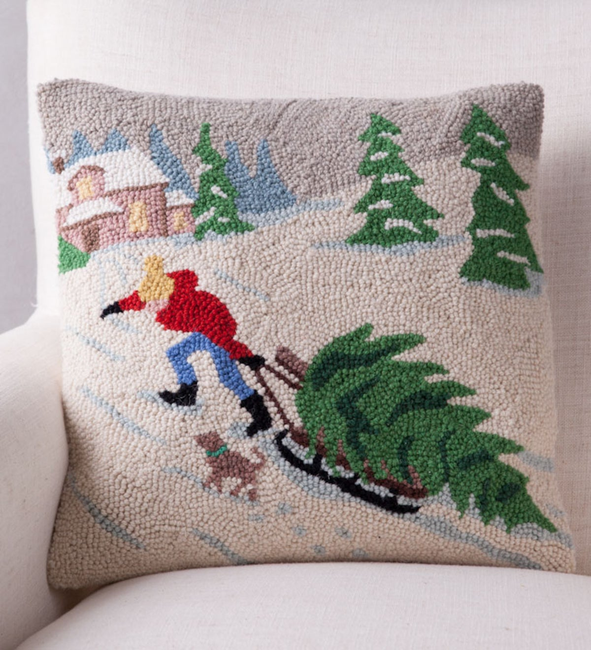 Hand-Hooked Wool Sled with Tree Pillow