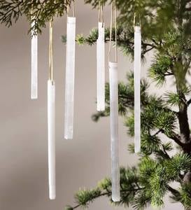 Selenite Icicle Ornaments, Set of 3
