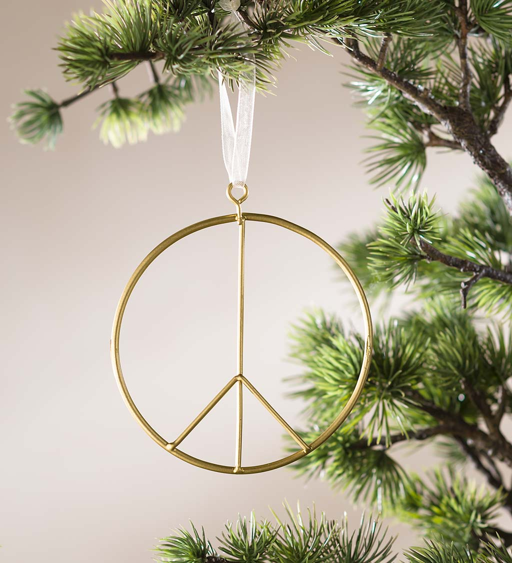 Brass Peace Sign Ornaments