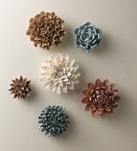"""Neutral"" Collection Ceramic Wall Flowers, Set of 6"