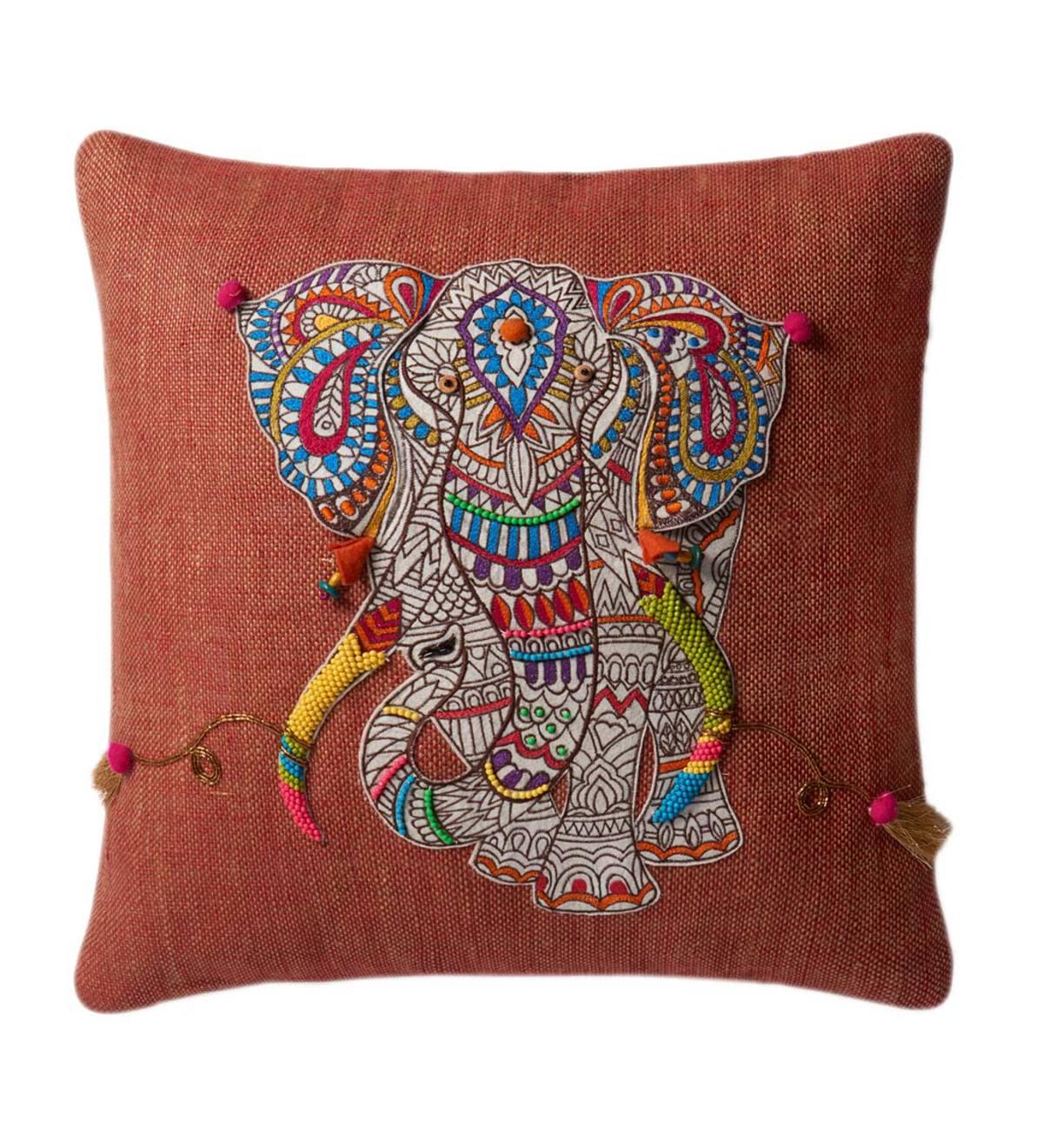 Cool Mandala Elephant Applique Throw Pillow Vivaterra Creativecarmelina Interior Chair Design Creativecarmelinacom