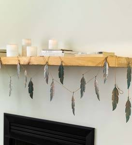 Distressed Metal Feather Garland